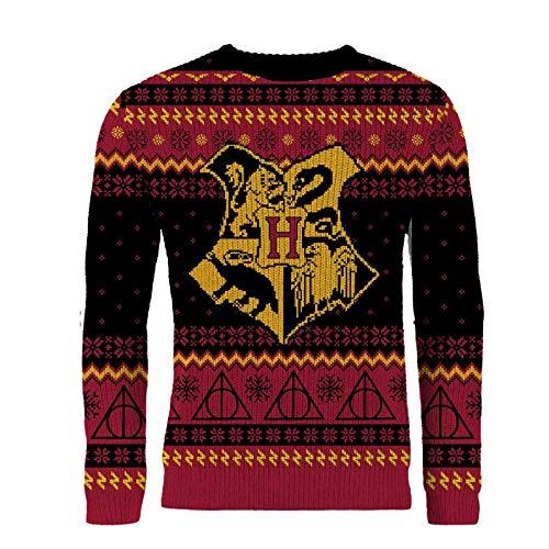 Harry Potter Hogwarts Crest Red Knitted Christmas Jumper