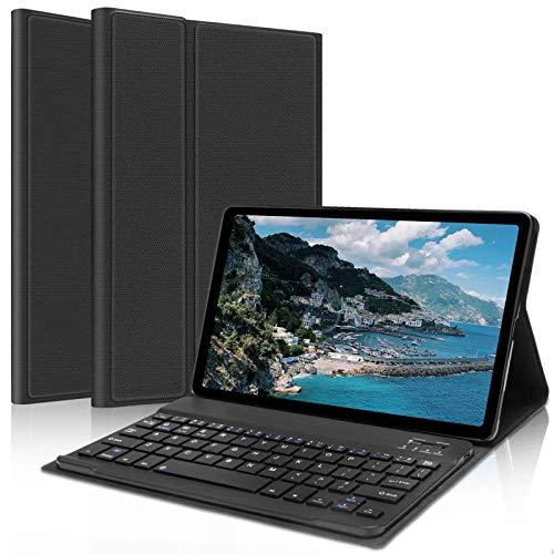 DINGRICH Teclado Trackpad para iPad 10.2 / iPad 8 Generacion 2020, Funda con Teclado Español Bluetooth Teclado Extraíble Recargable para iPad 8/7 Generación/iPad Pro 10.5 /Air 3 con Portalápiz Negro