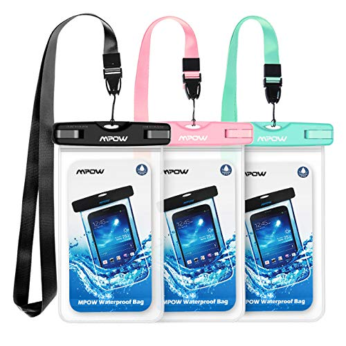 Mpow Waterproof Case, Universal IPX8 Waterproof Phone Pouch Underwater Protective Dry Bag Compatible iPhone Xs Max/XS/XR/X/8/8P, Galaxy S10/S9, Google Pixel/HTC up to 6.5 Inches(Black+Blue+Pink)