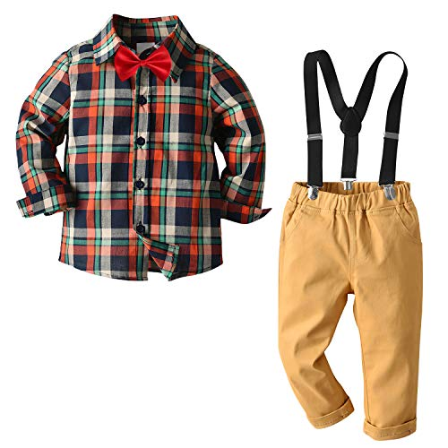 Nwada Boy Outfit Toddler Boys Clothes 2pcs Bow Ties Shirts and Suspenders Pants Khaki 7 Years