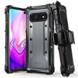 Vena Galaxy S10 Plus Rugged Case, vArmor (Military Grade Drop Protection) Heavy Duty Holster Belt Clip Cover with Kickstand Designed for Samsung Galaxy S10+ - Space Gray