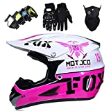 Casco Moto Niños Downhill, Casco de Motocross para Niño y Niña, Set de Casco MTB Integral con Gafas Guantes y Máscara, para Moto de Cross Carreras ATV Enduro Minimoto, con Diseño FOX, Rosa Blanco
