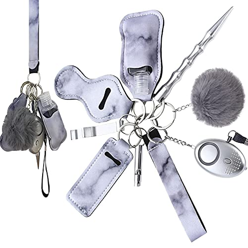 Self Defense Keychain Set for Women and Girls, with Personal Safety Alarm,Safety Keychain Accessories,10 Pcs fashionable Portable Safety Keychain Set-Grey