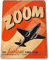 Shimaier ブリキ 看板 壁の装飾 メタルサイン Zoom Retro Airplane Cards ウォールアート バー カフェ 30×40cm ヴィンテージ風 メタルプレート