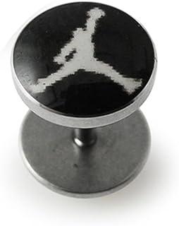 Black Air Jordan Logo Fake Ear Plug 316L Surgical Steel Barbell Fake Ear Plugs