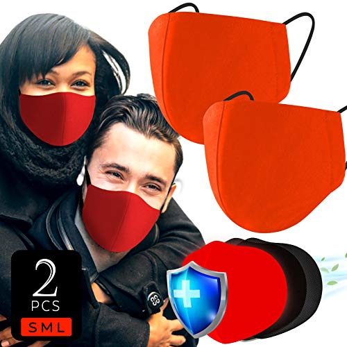 Apple Red 3x Layer Cotton Muslin Face Cover (Pack of 2 | S&M) Nose & Mouth Covers with Extra Filter Slot, Super Soft Comfortable Wear for Daily Use Fit Most Adult Men & Women