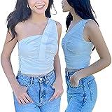 Women Summer Crop Tops, Solid Color Single-Shoulder Ruffled Sleeveless Tight Vest for Girls, White (White , Medium )