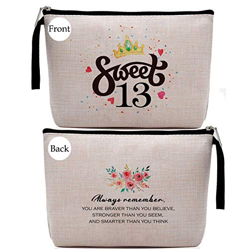 13th Birthday Gifts for Girls-13th Birthday Sweet Thirteen -13 Years Old Girl Birthday Gift, Stash Bag, Cosmetic Pouch, Travel Case, Makeup Bag