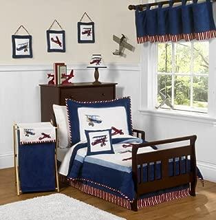 Sweet Jojo Designs 5-Piece Red, White and Blue Vintage Aviator Airplane Toddler Boy Bedding Set