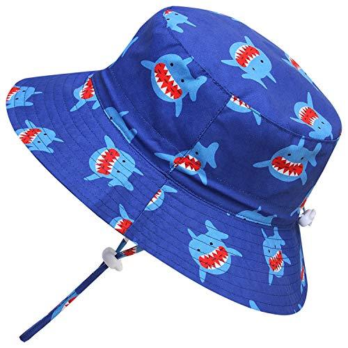 Adorel Cappelli da Sole Mare Anti-UV per Neonati e Bambini Squalo Blu 6-12 Mesi (Dimensioni del Produttore: 48)