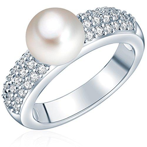 Valero Pearls Damen-Ring Hochwertige Süßwasser-Zuchtperlen in ca. 8 mm Button weiß 925 Sterling Silber Zirkonia weiß - Perlenring mit echten Perle weiss 60201417