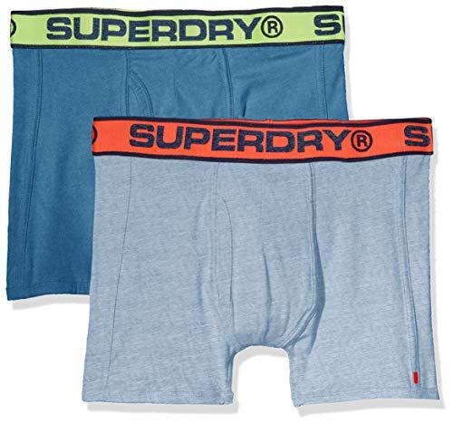 Superdry Herren Sport Double Boxer Boxershorts, Mehrfarbig (Milton Blue Marl/Ketion Blue Marl V6U), Small