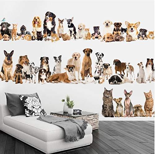 WTTTL Sticker Mural Sticker Mural Autocollant animalierDate Chats Plinthes Mur Autocollants Chien Mur PVC Stickers Muraux/Adhésif Animaux Parti Décoration De La Maison Bricolage Amo