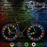 TIPEYE LED Bike Wheel Lights (1/2 Pack) IP65 Waterproof with Batteries Included Easy to Install Burning Man Bike Spoke Decorations Visible from All Angles for Ultimate Safety and Kids