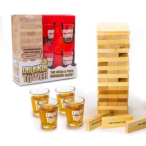 Original Cup - Drunken Tower Juego de Alcohol Infernal con peones - 60 Bloques de Madera - 4 Copas para Tirar - Juego de Noche - Juego de Beber