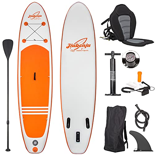 """Jiubenju All Around Inflatable Stand Up Paddle Board with Kayak Seat, Supports 308 LBS, 10'6"""" L x 30"""" W x 6"""" Thick Non-Slip Deck, Premium SUP Accessories Includes Aluminum Oar Pump Leash Carry Bag"""