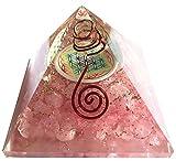 Orgonite pyramide fleur de vie Quartz rose - Base : 7 cm - (Elle appelle l'énergie des anges pour vous entourer et vous protéger) Taille : 7 CM