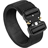 Mens Tactical Belt, Black Military Tactical Utility Heavy Duty Belt with Quick Release Metal Buckle 1.5-inch Nylon Webbing Belt for Fishing/Hiking/Riding/Climbing