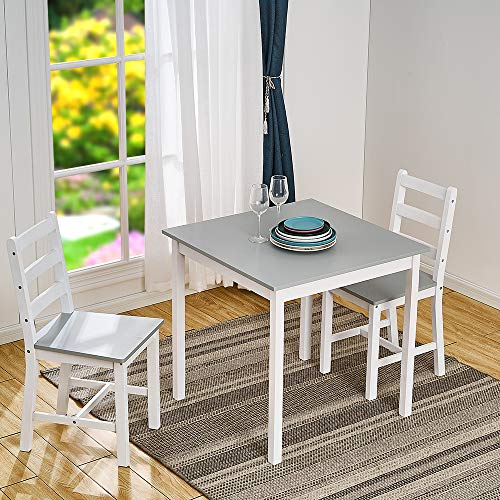 Panana Wooden Dining Table with 2 Chairs in Choice of Colors Dining Room Furniture Set (Grey with White)