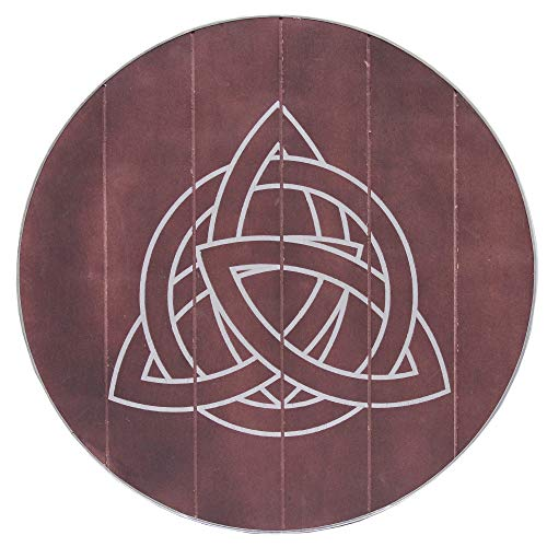 Authentic Viking Knights Celtic Knot Triquetra Circle Shield Wooden Round Functional Norse Trinity Brown