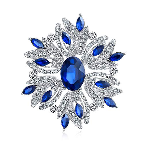 Large Statement Vintage Style Crystal Flower Simulated Blue Sapphire Crystal Brooch Pin for Women for Mother Silver Plated