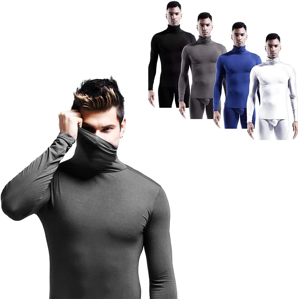 ZHive Men's Turtle Neck T-Shirt Stretch Long Sleeve Blouse Casual Slim Fit Thermal Basic Tops