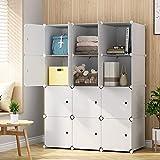 KOUSI Large Cube Storage - 14'x18' Depth Cube (12 Cubes) Organizer Shelves Clothes Dresser Closet Storage Organizer Cabinet Shelving Bookshelf Toy Organizer, White