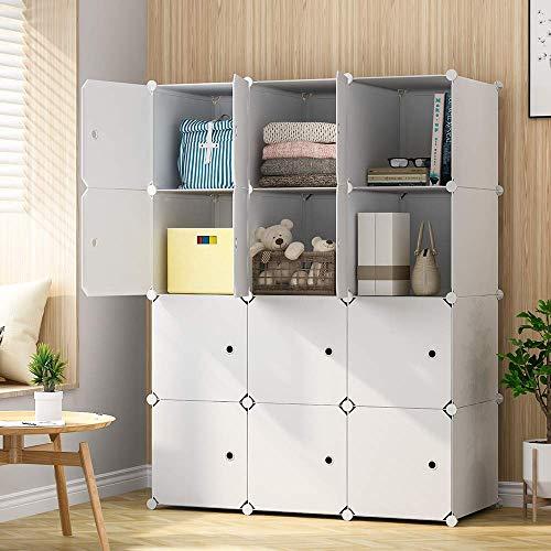 "KOUSI Large Cube Storage - 14""x18"" Depth Cube (12 Cubes) Organizer Shelves Clothes Dresser Closet Storage Organizer Cabinet Shelving Bookshelf Toy Organizer, White"