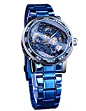 Winner Retro Steampunk Skeleton Blue Diamond Royal Carving Men's Watch Elegant Mechanical Wrist Watch Neutral Clock