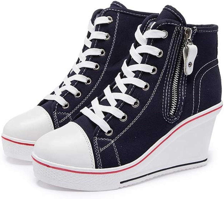 Fancyww Women's Canvas shoes Lace up Wedges Pump shoes