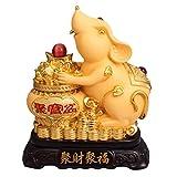 Living Equipment Shakin Feng Shui Estatua Zodíaco chino Animal Ratón / Rata Decoración de mesa Estatuilla Colección de regalos Escultura de riqueza y buena suerte Escultura de dos estilos Adorno he