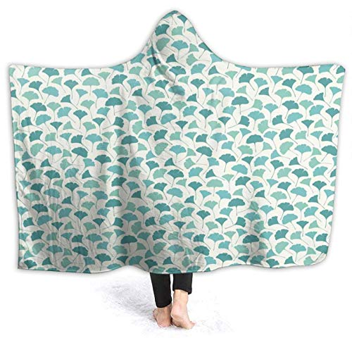 YOUMEISU Super Soft Hooded Blanket Throw,Native Chinese Woodland Leaves From Ginkgo Trees Pastel Silhouettes,Warm Blankets Throw 150x200cm
