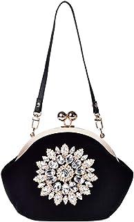 ETH Black Velvet Flowers Married Woman Hand Bag Evening Bags Handbags Handbag 20CM * 12CM * 18CM Hand Bag