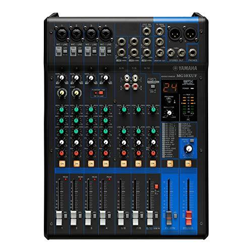 Yamaha MG10XUF Mischpult – Kompakter Mixer mit 10 Eingangskanälen, SPX-Digitaleffekten, USB-Audio-Funktionen und D-PRE-Mikrofonvorverstärkern (Fader Version)