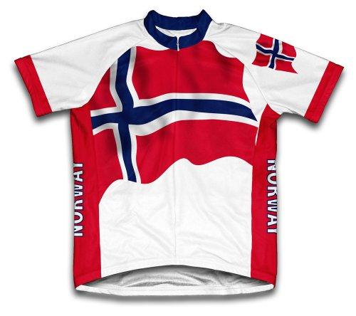 ScudoPro Norway Flag Maillot Cycliste à Manches Courtes pour Hommes -