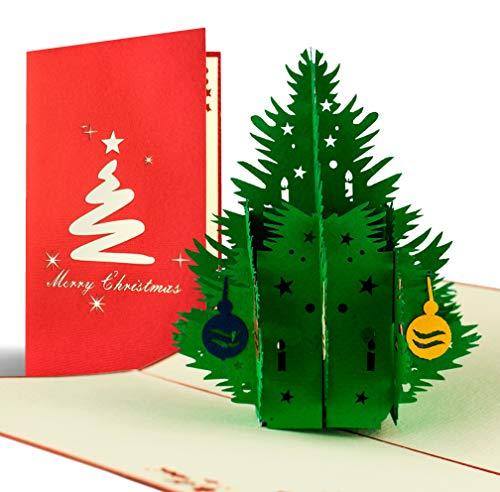 Biglietto Di Natale Con Albero 3D A Comparsa, Fatto A Mano, Alta Qualità, Cartolina Di Auguri Natalizi Pop Up, Feste Natalizie, Busta Inclusa, Rosso E Bianco