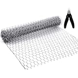 BSTOOL Chicken Wire Net for Craft Projects,3 Sheets Lightweight Galvanized Hexagonal Wire 13.7 Inches x 40 Inches x 0.63 Inch Mesh,with One Mini Wire Cutting Pliers-10 Feet(3 Sheets)