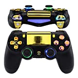eXtremeRate Multi-Colors Luminated D-pad Thumbstick Trigger Home Face Buttons, Chrome Gold Classical Symbols Buttons DTFS (DTF 2.0) LED Kit for PS4 Slim PS4 Pro Controller - Controller NOT Included