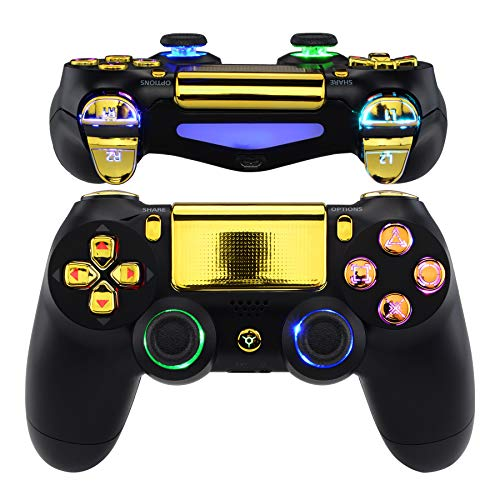 eXtremeRate LED Botones para Mando PS4 Teclas Botón D-Pad Joysitcks Gatillos Home Face Símbolos Botones DTFS(DTF 2.0) LED Kit para Control de Playstation 4 PS4 Slim Pro-No Incluye Mando(Dorado Cromo)