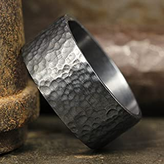 9mm Wedding Band Oxidized Blackened 925 Sterling Silver Hand Forged Hammered Mens Women Unisex Flat Pipe Cut Thick Handmade Black Ring - FREE Engraving