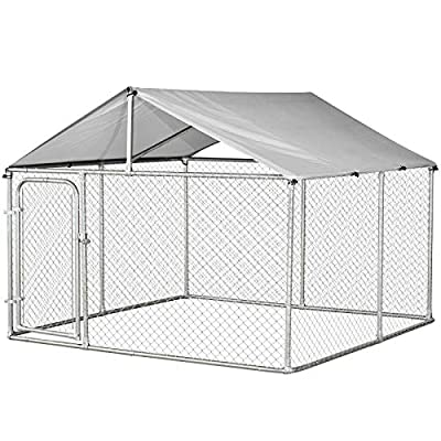 PawHut 7.5' x 7.5' x 5.6' Outdoor Chain Link Box Kennel Dog House with Cover - Silver