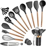 Cooking Utensils Silicone kitchen Set - Heat Resistant Kitchen Tools Wooden Handle Spoons Kitchen Utensil Set with Holder Spatulas Turner Tongs Whisk Kitchen Appliances for Cooking (Dark Grey)