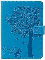 Amazon Kindle Paperwhite 4タブレット、クリエイティブツリー猫エンボス加工デザインPUレザーフリップ財布オートスリープ/ウェイクスタンドカバー (Color : Blue)