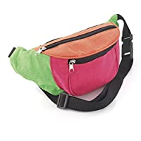 Size Approx. 30 cm x 11cm One Size Adjustable Strap Bright Neon Multi-Coloured Fabric Bum Bag/ Fanny Pack - Festivals/ Club Wear / Holiday Wear