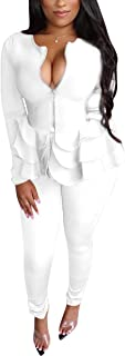 Aro Lora Women's 2 Piece Outfit Casual Solid Ruffles Zipper Blazer and Pencil Pant Suits Set Small White
