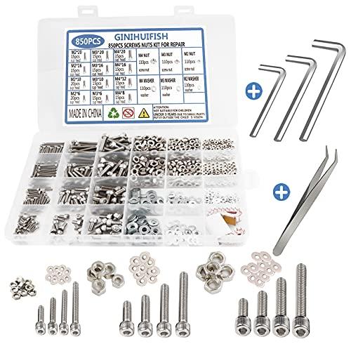 GINIHUIFISH 850pcs Metric Stainless Steel Hex Socket Head Cap Bolts Screws Nuts Assortment Kit(M2 M3 M4) with Wrench (850pcs-Stainless Steel)