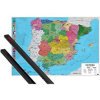 Close Up Póster Mapa Físico Político de España (91,5cm x 61cm) + 1 ...