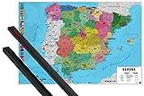 1art1 Mapas Póster (91x61 cm) Mapa España Fisico Politico Y 1 Lote De 2 Varillas Negras