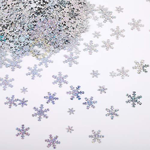 Christmas Snowflake Confetti Decoration- 1500pcs | Snowflakes Frozen Party Confetti | Winter Wonderland Birthday Baby Shower Wedding Sequins Christmas Party Sprinkles Confetti Decorations (Silver)