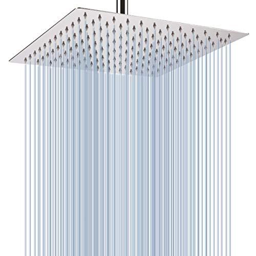 Drenky Soffioni doccia quadrati da 12 pollici soffioni a pioggia Soffioni doccia in acciaio inossidabile 304 Specchio cromato Faccia ad alta pressione Soffioni per bagno Soffioni a pioggia